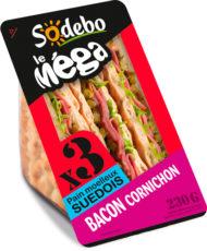Sandwich Le Méga club - Bacon Cornichon x3 / pain suédois