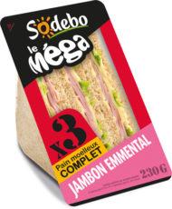 Sandwich Le Méga - Club - Jambon Emmental x3 / pain complet