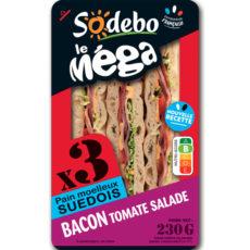 Sandwich Le Méga - Club - Bacon Tomate Salade x3 / pain suédois