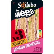 Sandwich Le Méga - Club - Jambon Emmental x3 / pain moelleux