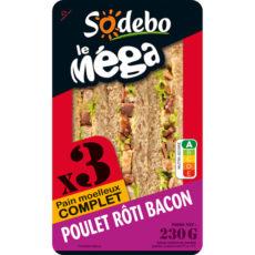 Sandwich Le Méga - Club - Poulet rôti Bacon x3 / pain de mie moelleux