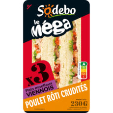 Sandwich Le Méga - Club - Poulet rôti Crudités x3 / pain viennois