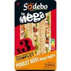 Sandwich Le Méga - Club - Poulet rôti Mayo légère x3 / pain complet