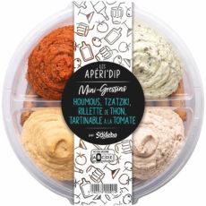 Les Aperi'Dip  Mini gressins - Houmous, tzatziki, rillette de thon, tartinable à la tomate