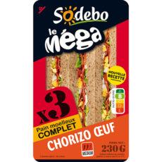 Sandwich Le Méga - Club - Chorizo Œuf x3 / pain complet